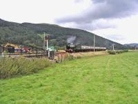 Train from Llangollen approaching the present terminus at Carrog in the summer of 2007.<br><br>[John Robin&nbsp;22/07/2007]