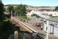 Quiet Sunday morning at Branchton on 29 July 2007. View over the station looking towards Wemyss Bay.<br><br>[John Furnevel&nbsp;29/07/2007]