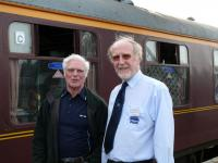 Dr Fred Landery, SRPS Train Manager, with Ian Gilbert, a seasoned life member, talking along the right lines on the return leg of the autumn railtour to Inverness during a scheduled stop at Elgin. Scottish Railway Preservation Sociery (SRPS)<br><br>[Brian Forbes&nbsp;22/09/2007]