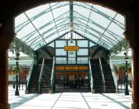 The imposing main entrance to Tynemouth station in July 2004 showing the distinctive <I>double footbridge</I>. The station is now part of the Tyne and Wear Metro system.<br><br>[John Furnevel&nbsp;10/07/2004]
