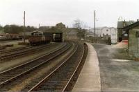 View looking west along platform 1 towards Craigellachie, in the spring of 1981.<br><br>[John Williamson&nbsp;/04/1981]