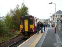 The platform at Hairmyres in October 2007 with 156 430 forming an East Kilbride - Glasgow service.<br><br>[David Panton&nbsp;13/10/2007]