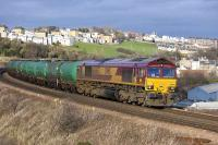 66063 with the Linkswood (Leuchars) - Grangemouth empty tanks coming off Jamestown Viaduct on 4 February.  Will this working be rerouted over the Alloa line at some future point?  (Facing junction for Grangemouth...)<br><br>[Bill Roberton&nbsp;04/02/2008]