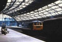 Lime Street station, Liverpool on 19 May 1970, with a class 86 locomotive standing idle between turns.<br><br>[John McIntyre&nbsp;19/05/1970]