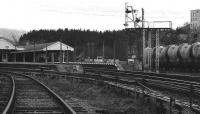Looking south towards Aviemore station in 1977 with<br> some cement wagons standing in the sidings. At this time the<br> development of the land to the west of the station<br> platforms had yet to take place.<br><br>[John McIntyre&nbsp;//1977]
