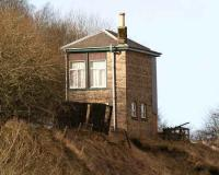 The former signal box at Shankend, seen from the roadside on 6 February 2008, looking north towards the viaduct. <br><br>[John Furnevel&nbsp;/02/2008]