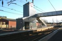 The new footbridge at Lockerbie - looking across to the southbound platform on 6 February. Something of a military feel about the structure?<br><br>[John Furnevel&nbsp;06/02/2008]