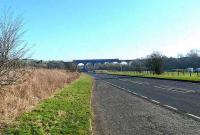 A twin 158 formation crosses Markinch Viaduct on 12 February 2008. View looks east along the A911 road.<br><br>[Brian Forbes&nbsp;12/02/2008]