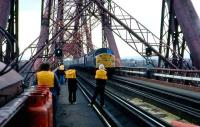 Members of Aberdeen University Railway Society grabbing a <I>photo-opp</I> during a visit to the Forth Bridge in 1980. <br><br>[John Williamson&nbsp;//1980]