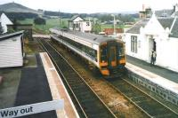 158 729 runs into Insch station over the level crossing in October 1998 with a service for Aberdeen.<br><br>[David Panton&nbsp;/10/1998]