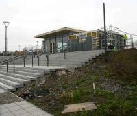 Progress on the Alloa station building on 14 February 2008. View northwest over the steps from the superstore car park.<br><br>[John Furnevel&nbsp;14/02/2008]