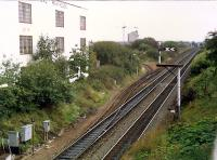 View looking east away from Falkirk Grahamston in 1988. The ground frame for the old SRPS depot at Springfield Yard is at the bottom left. The also gave access to a long loop for the Grangemouth branch.<br><br>[Ewan Crawford&nbsp;//1988]