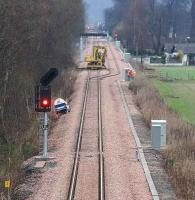 View from the road bridge at Alloa West back towards Cambus level crossing on 14 February 2008, with testing being carried out on the signals controlling the loop.<br><br>[John Furnevel&nbsp;14/02/2008]