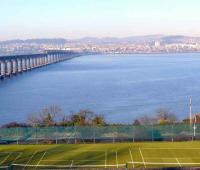 Looking north over the Wormit tennis courts and the River Tay to Dundee Law on 12 January.<br><br>[Brian Forbes&nbsp;12/01/2008]
