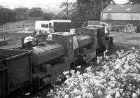 Three ex-Aberdeen Gasworks 0-4-0 tank engines stored in the southwest corner of Ferryhill MPD in 1973. Left to right are <I>Bon Accord, Mr Therm</I> and <I>No 3</I>. [See image 12565]<br><br>[John McIntyre&nbsp;03/06/1973]