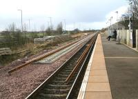 Standing on the platform at Gretna Green on 7 February looking west towards Annan, showing progress on the redoubling work taking place on this section.<br><br>[John Furnevel&nbsp;07/02/2008]