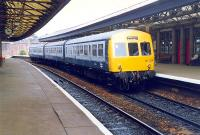 Local service DMU at Arbroath in 1989 about to leave for Dundee.<br><br>[Ewan Crawford&nbsp;//1989]