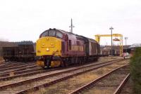 Scene in the yard at Elgin East on 18 February 2008 as EWS 37422 prepares to take out a train of seed potato traffic destined for Ely, Cambridgeshire.  <br><br>[Mick Golightly&nbsp;18/02/2008]