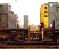 Detail of one of the 3 class 13 super - shunters formed by permanently coupling a pair of class 08s (one with the cab removed) in a <I>master and slave</I> combination to handle hump shunting in Tinsley Yard. (A larger rigid-framed locomotive could not be used due to a risk of grounding on the hump). This example consisted of D4189 (left) and D4190, jointly becoming D4501, later renumbered 13001. The locomotives became redundant on closure of Tinsley hump in 1985, with 13001 scrapped at BREL Swindon the same year. [See image 38598]<br><br>[Colin Alexander&nbsp;15/02/1981]