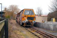 A track machine stabled in the remaining siding alongside Driffield station on the Hull - Scarborough line on 13 January.<br><br>[Peter Todd&nbsp;13/01/2008]
