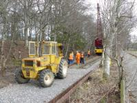 Volunteers of the Royal Deeside Railway making good progress re-instating the track between Milton of Crathes and Banchory on 23 February. Thanks to the recovery of track from Aberdeen Guild Street, there is almost enough track to reach their ultimate destination.<br><br>[John Williamson&nbsp;23/02/2008]