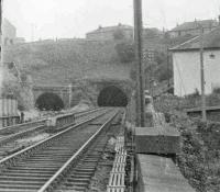 View at Cartsburn Junction in 1963, showing the Inchgreen branch on the left and the line to Kilmacolm on the right.<br><br>[John Robin&nbsp;13/08/1963]