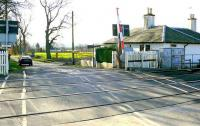 View south over Inchyra AHB level crossing on the Dundee & Perth line on 27 February 2008, with <I>'Crossing Cottage'</I> standing on the right.<br><br>[Brian Forbes&nbsp;27/02/2008]