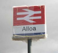 Still in its protective wrapping - the new Alloa station sign stands at the entrance from the ring road on 28 February 2008.<br><br>[John Furnevel&nbsp;28/02/2008]