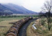 Molasses train arriving at Menstrie in 1987.<br><br>[Mark Dufton&nbsp;/04/1987]