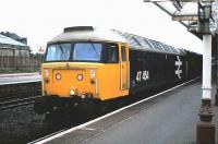 47 454 stands with a train at Kilmarnock in August 1985.<br><br>[David Panton&nbsp;/08/1985]
