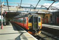 156 502 waits at Kilmarnock on 1 June 1997 with the 1535 service to Glasgow Central.<br><br>[David Panton&nbsp;01/06/1997]
