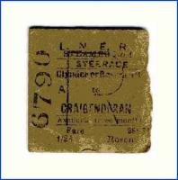 Part of a faded LNER steamer ticket for a journey from Clynder or Roseneath to Craigendoran. The ticket is stamped on the back <I>13 Au 1936</I>.  <br><br>[John McIntyre&nbsp;05/04/2005]