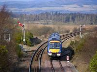 Southbound train passing Craigo signal box on 27 February. <br><br>[Bill Roberton&nbsp;27/02/2008]