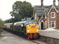 D200/40122 with the <I>Hadrian Pullman</I> railtour from Kings Cross at Appleby East on its way to Warcop on 31 July 1983. [See image 30390] for a 2010 view.<br><br>[Colin Alexander&nbsp;31/07/1983]