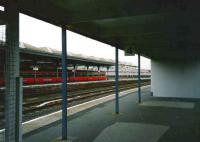 View from the now-demolished building on the rarely used platform 4 at Kilmarnock on 4 July 1997.<br><br>[David Panton&nbsp;04/07/1997]