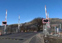 Crossing barriers now in situ at Blackgrange on 4 March, although they are fenced in. The backdrop is Dumyat a hill behind Menstrie.<br> Not long now before trains to Alloa.<br><br>[Brian Forbes&nbsp;04/03/2008]