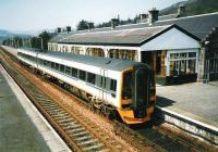 Kingussie station in May 1998 with 158 712 forming a service to Inverness. The near platform is seldom used.<br><br>[David Panton&nbsp;/05/1998]