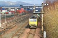An oil train shortly after leaving the BP Grangemouth refinery on 28 February 2008 behind EWS 60063 is held at signals approaching Fouldubs Junction.<br><br>[John Furnevel&nbsp;28/02/2008]