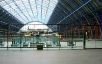 Eurostars at St Pancras International under the splendid refurbished <I>Barlow</I> train shed on 6 March 2008.<br><br>[Michael Gibb&nbsp;06/03/2008]