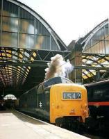 Deltic Preservation Society 9019 <I>Royal Highland Fusilier</I> clears its throat as it starts a railtour out of Kings Cross on 7 June 2003.<br><br>[Colin Alexander&nbsp;07/06/2003]