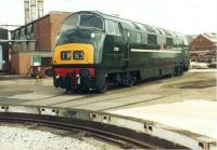 Warship D818 <I>Glory</I> at her birthplace in Swindon Works on 6 June 1981. Despite her immaculate appearance (following a restoration exercise by works apprentices) she was subsequently scrapped. <br><br>[Colin Alexander&nbsp;06/06/1981]