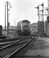 A class 47 coming off Ferryhill shed and onto the main line in 1974 in the process of running to Aberdeen station to take over a train.<br><br>[John McIntyre&nbsp;//1974]