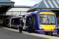 170 422 newly repainted in First ScotRail livery stands at Perth with an Aberdeen service on 15 March as the crews change over. <br><br>[Brian Forbes&nbsp;14/03/2008]