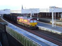 66192 passing through Paisley Gilmour Street on 22 February with a loaded coal train bound for Longannet.<br><br>[Graham Morgan&nbsp;22/02/2008]