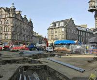 West end of Princes Street on 19 March 2008 with preparation work underway for the forthcoming Edinburgh tram network. <br><br>[Bill Roberton&nbsp;19/03/2008]