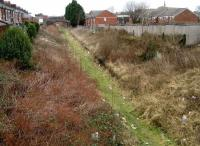 The former Deepdale station on the Preston and Longridge Railway looking northeast from Deepdale Road bridge on 22 February. Platform remains can still be seen amongst the undergrowth, which is more than can be said for the track.   <br><br>[John McIntyre&nbsp;22/02/2008]