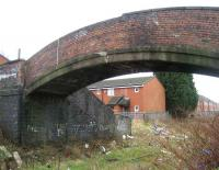 Unusual old footbridge at the northeast end of Deepdale station on the Preston and Longridge Railway, photographed on 22 February 2008. <br><br>[John McIntyre&nbsp;22/02/2008]