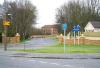 View southeast across Burnside Road, towards Bathgate town centre on 11 March 2008 through the site of the 1856 Bathgate Lower station (closed 1930).<br><br>[John Furnevel&nbsp;11/03/2008]