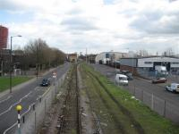 Looking east towards North Woolwich terminus on 21 March. This section of the North London Line is now mothballed and, although the track is still in situ, the electrified third rail has now been removed.<br><br>[Michael Gibb&nbsp;21/03/2008]