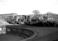 Three ex-Aberdeen Gasworks withdrawn steam locomotives stand alongside the turntable at Ferryhill shed in 1975.<br><br>[John McIntyre&nbsp;//1975]